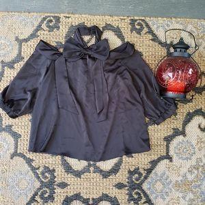 Cece Black Bow Blouse Half sleeve L